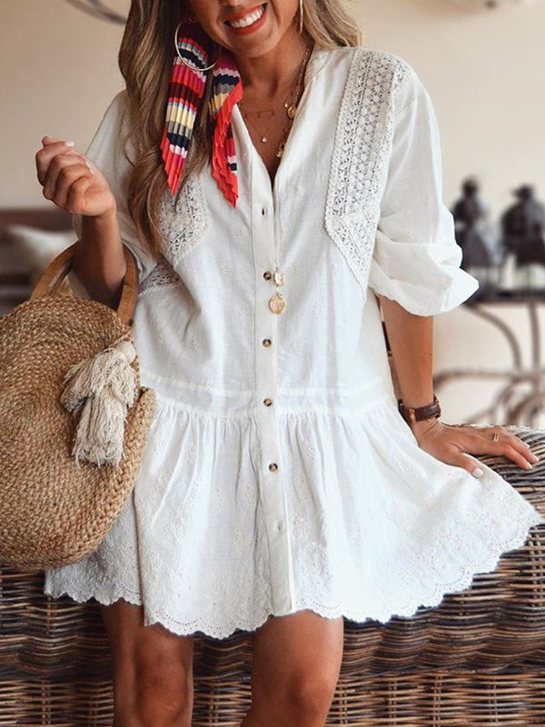 Plus Size Cotton Lace casual dress