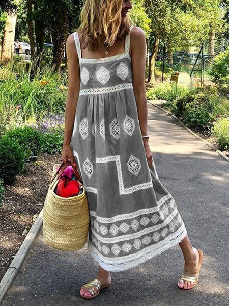 Summer Bohemian Sleeveless Polyester Dresses