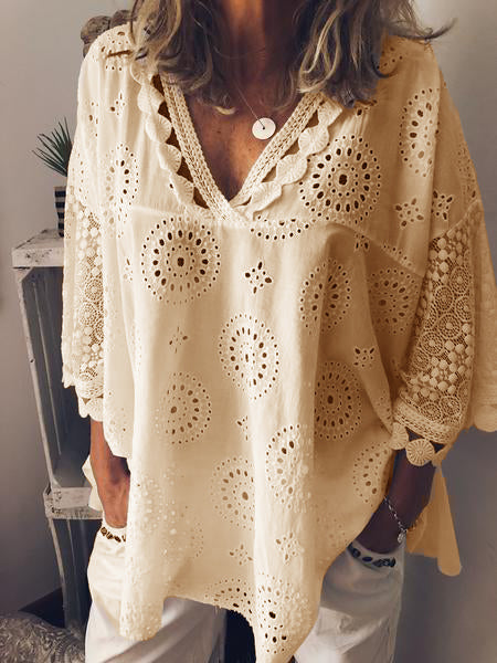 Women Cutout V Neck 3/4 Sleeve Cotton Tops