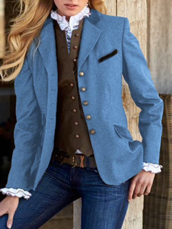 Solid Vintage Blazer Plus Size Lapel Long Coat