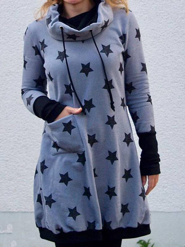 Cotton-Blend Casual Geometric Long Sleeve Dresses