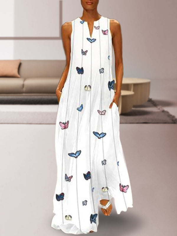 Women White Butterfly Printed Maxi Shift Dresses