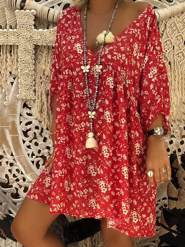 Pinktita Summer Plus Size Empire Dress for Women with Floral Printed V Neck Long Sleeve Casual Affordable Short Swing Dress