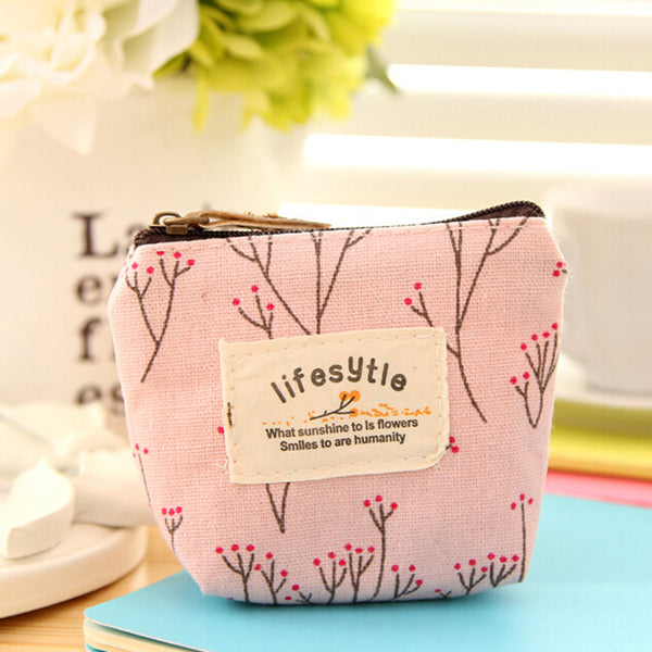 Women Lovely Cute Flower Printed Wallet Coin Purse