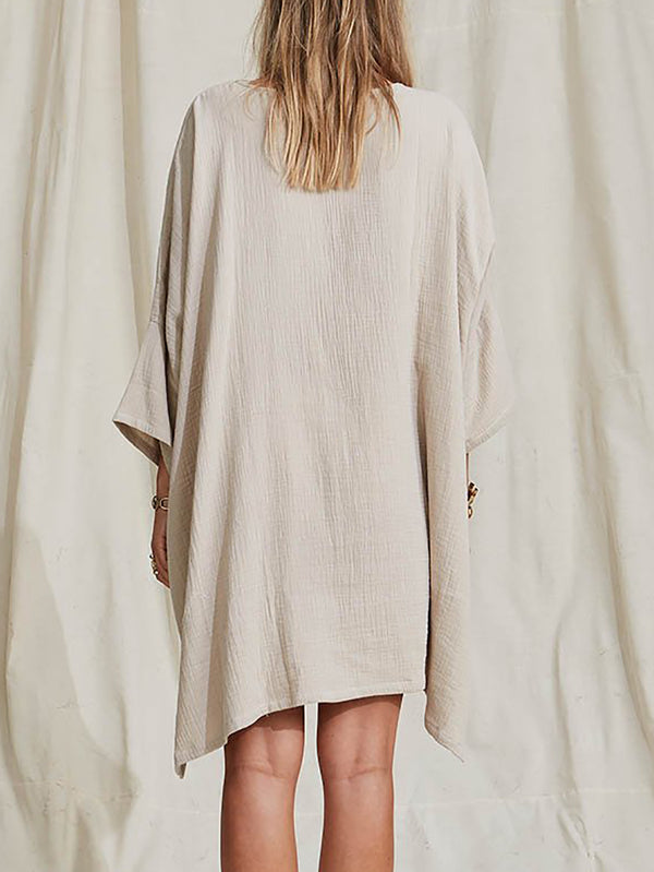 Crew Neck 3/4 Sleeve Dress