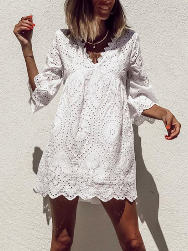 Plus Size Casual V Neck 3/4 Sleeve Dresses