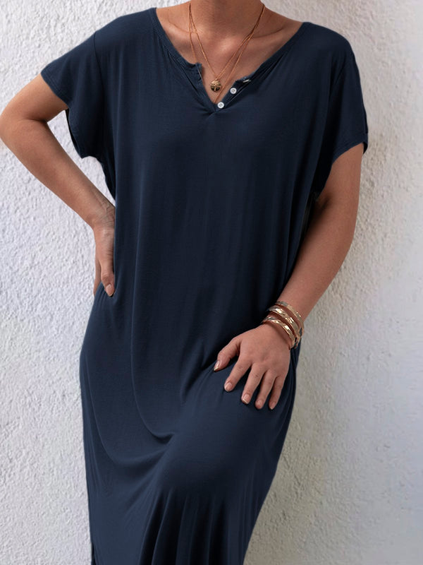 Plus Size Casual Solid V Neck Short Sleeve Dresses
