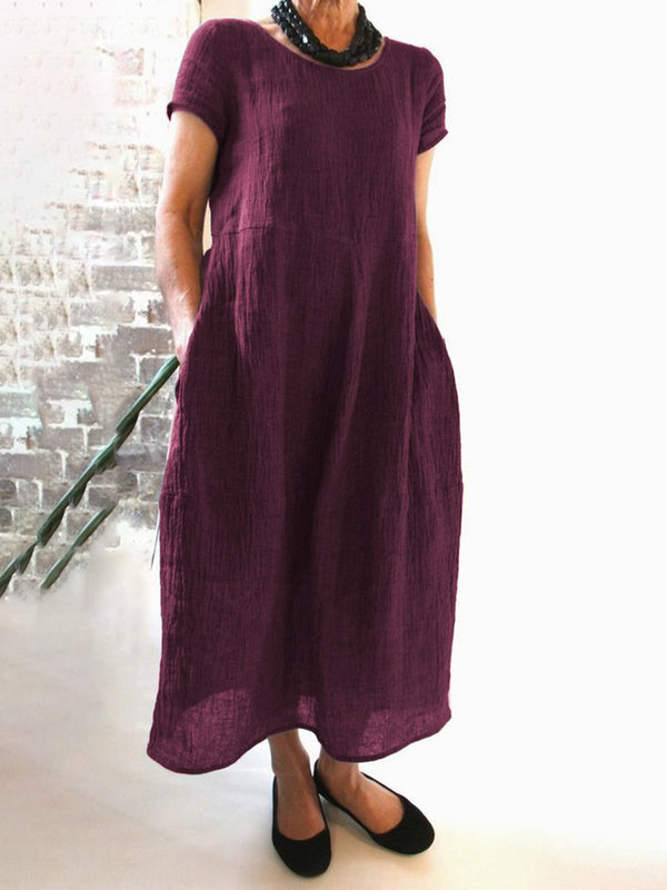 Women Casual Linen Dress Round Neck Short Sleeve Shift Summer Dresses