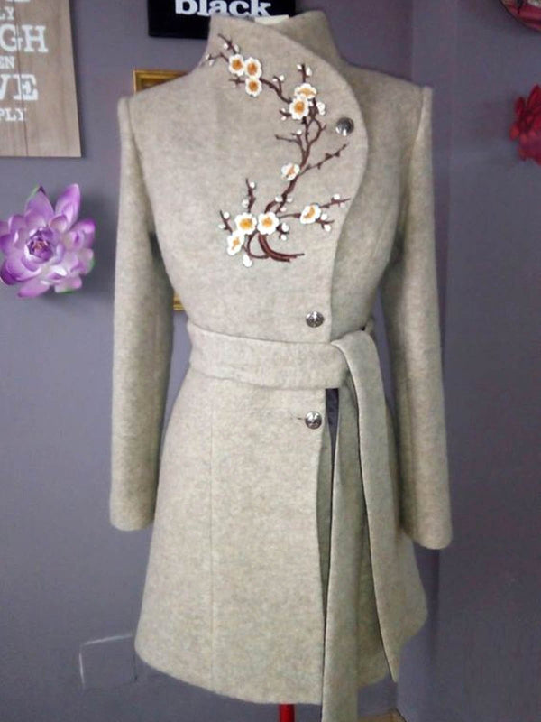 Plus size side button woolen fabric Floral Casual Cotton Outerwear