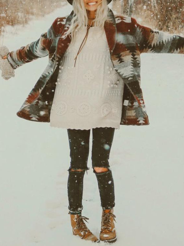 Casual Tribal Floral-print Shift Outerwear