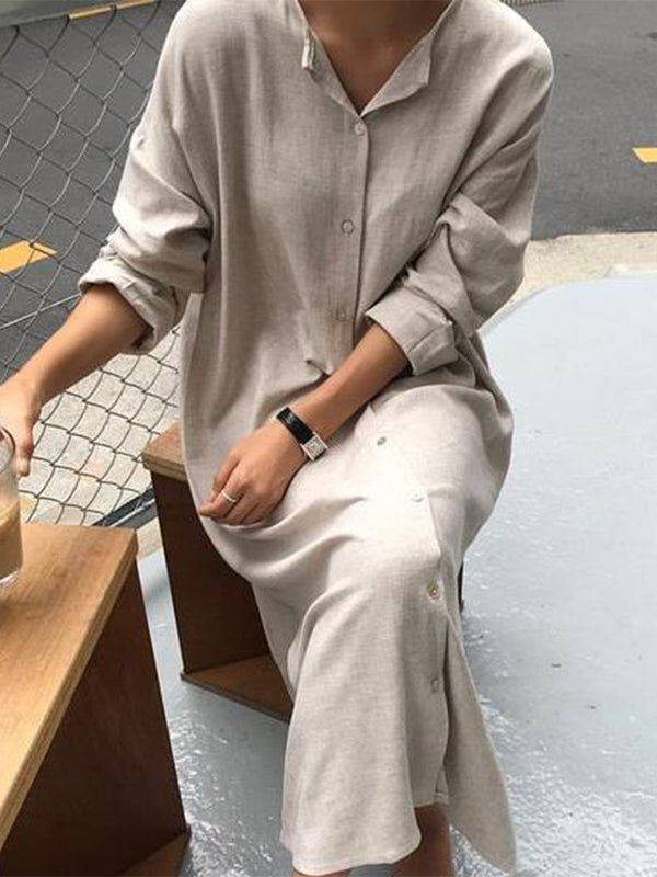 Long Sleeve Solid Casual V Neck Dresses