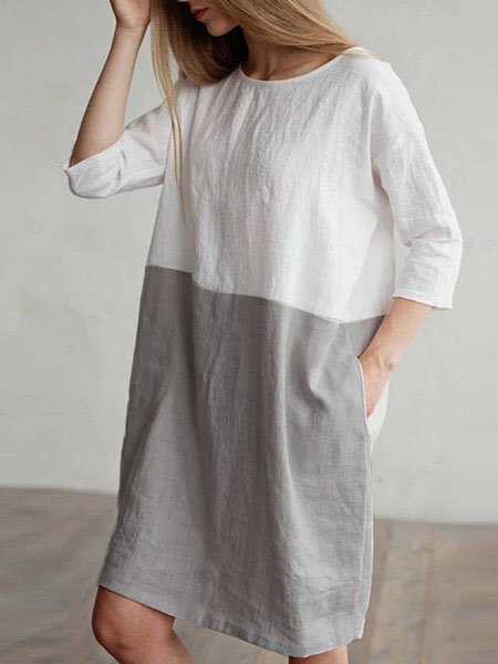 Plus Size Women  Shift Daily 3/4 Sleeve Linen Color-block  Dress