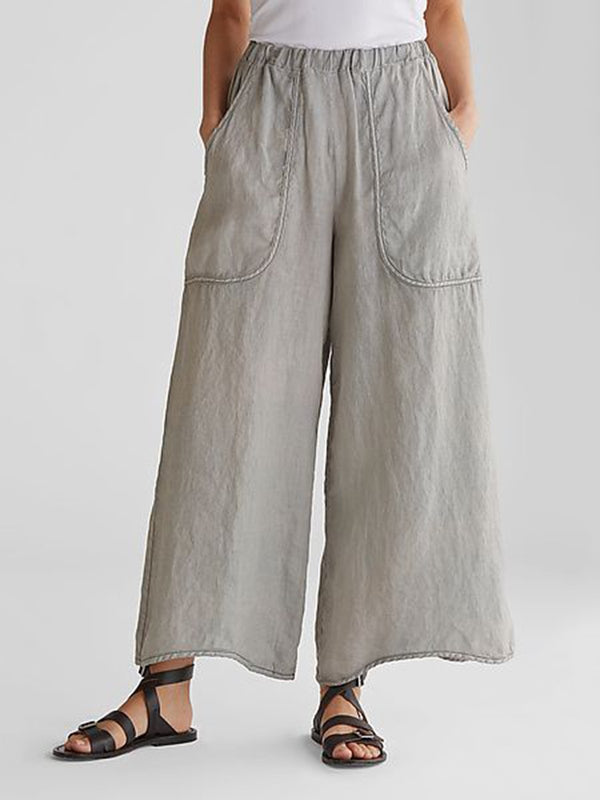 Summer Casual Plus Wide Plain Pockets Linen Pants