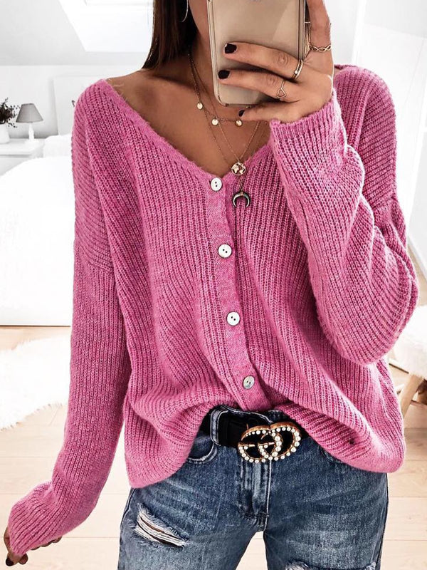 Plus Size Solid Sweater Buttoned V Neck Knitted Tops