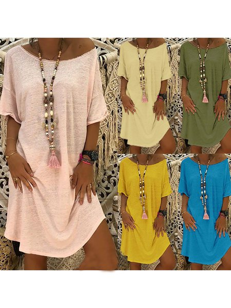 Short Sleeve Solid Dresses
