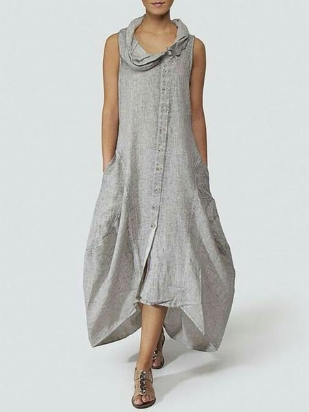 Pinktita Summer Maxi Dress for Women with Cowl Neck Button Pockets Sleeveless Casual Affordable Dress
