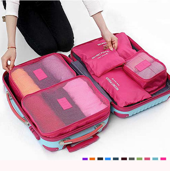 Waterproof Durable Cube 6Pcs Travel Storage Clothes Pouch Nylon Luggage Travel Bag