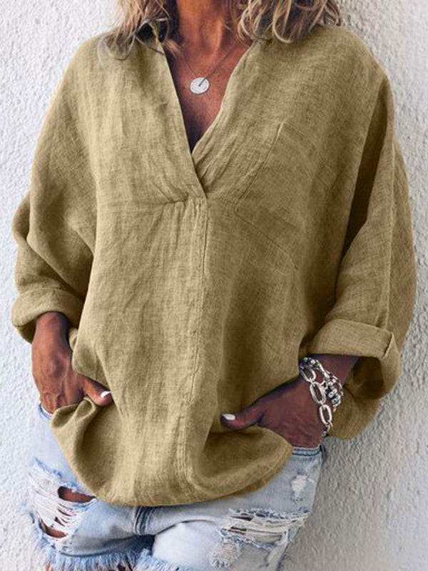 Women Casual Solid V Neck Plus Size Long Sleeve Linen Cotton Tops