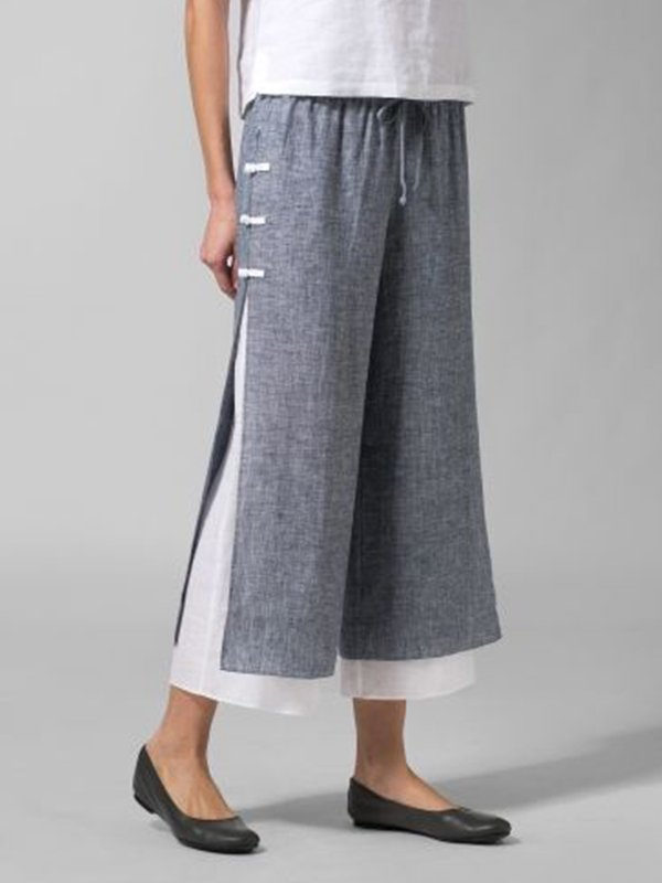 Women Casual Belted Cotton Bottoms