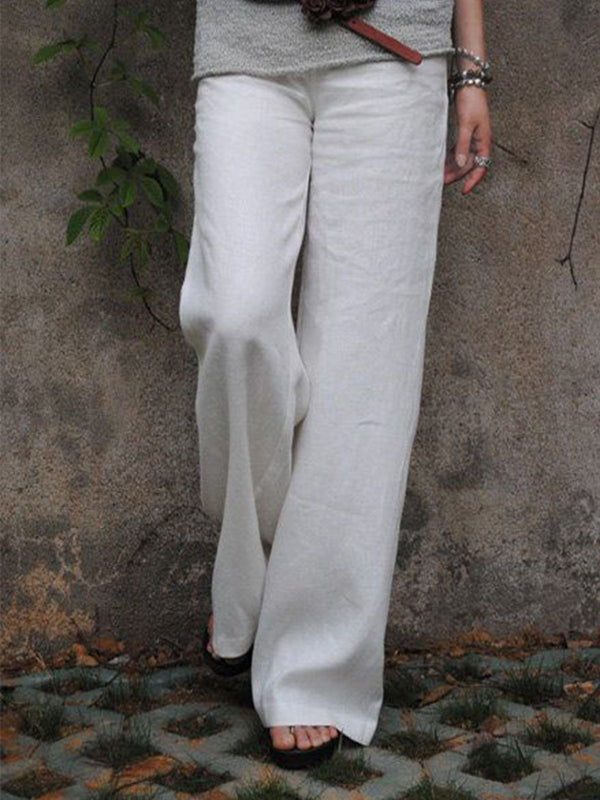 Women Summer Casual Cotton Solid Pants