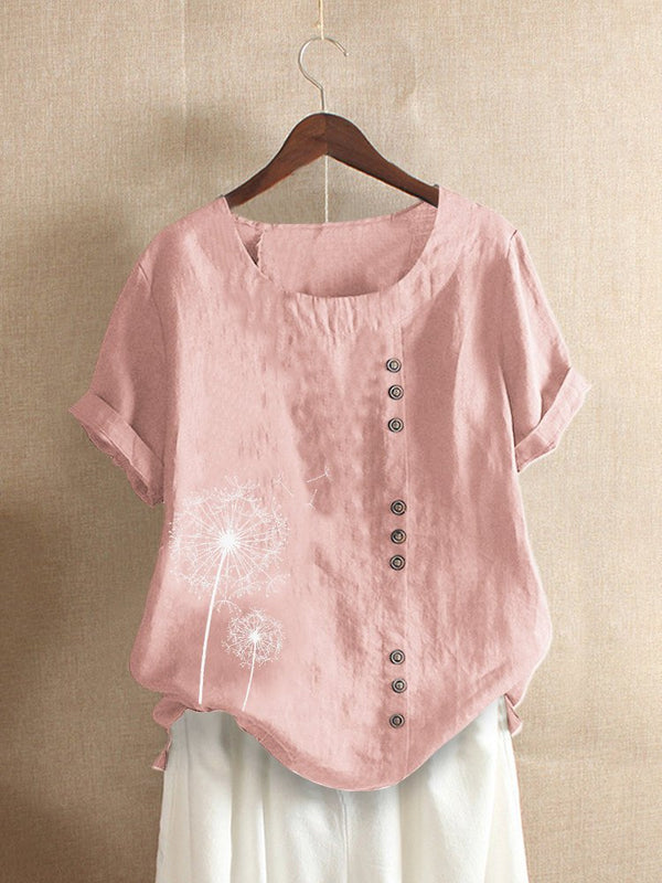 Women Vintage Print Flower Short Sleeve Button T-Shirt