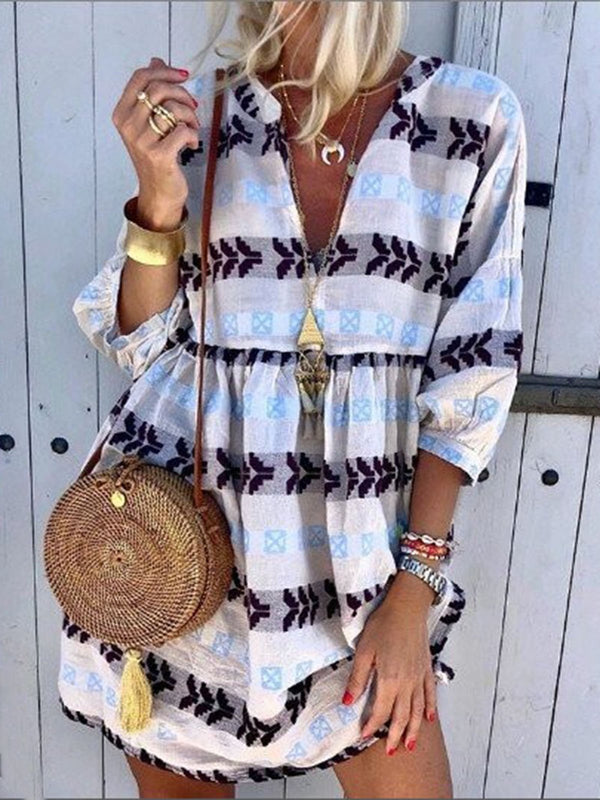 White Cotton-Blend Casual V Neck Stripes Dresses