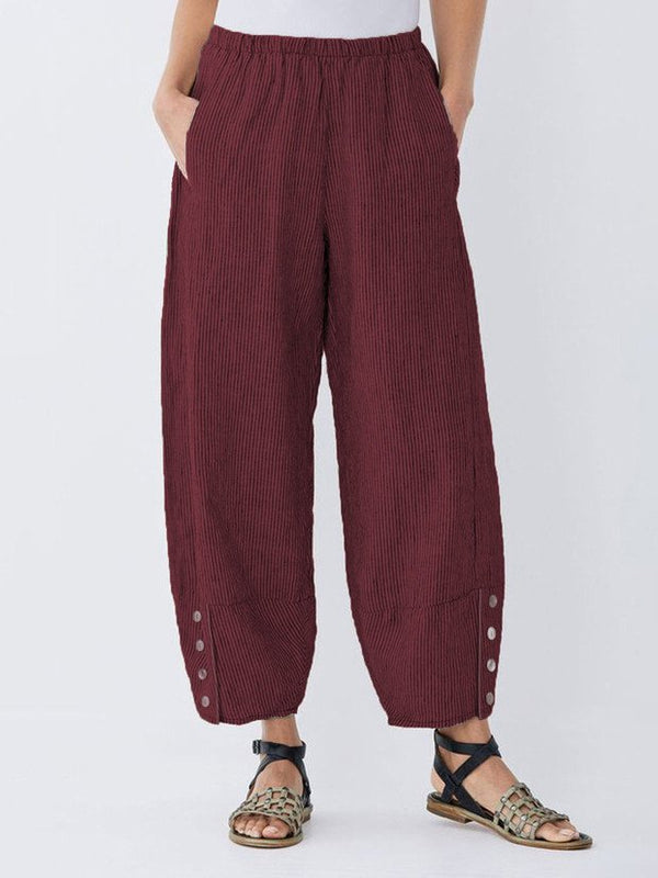 Women Summer Striped Pockets Linen Pants