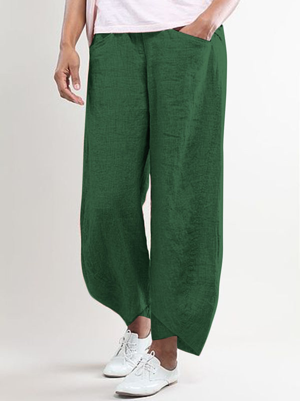 Summer Casual Pockets Linen Cotton Pants