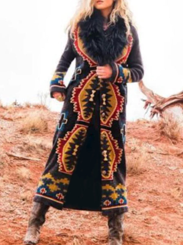 Black Tribal Shift Outerwear