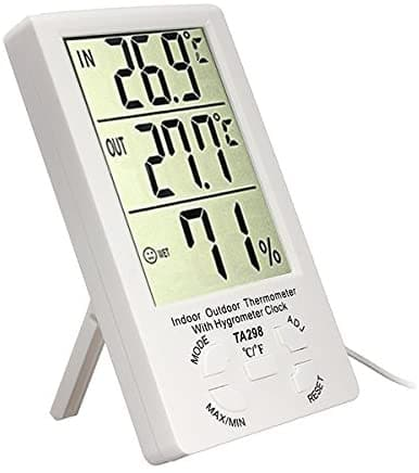 Digital LCD Indoor Outdoor Thermometer Hygrometer Humidity Meter with Clock