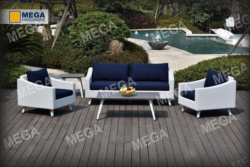 4 Piece Aluminium & Textile Sofa Set
