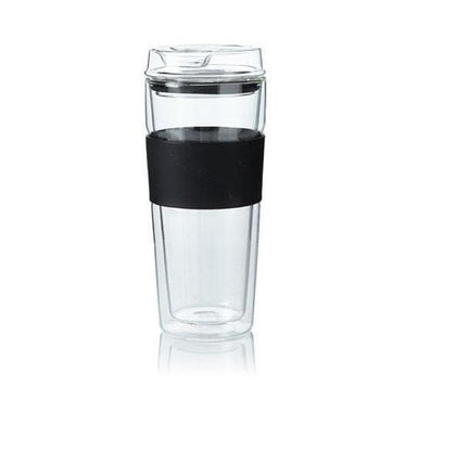 double wall glass cup with glass lid 400ML || حافظة زجاج