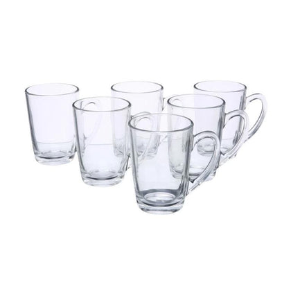 6-Piece New Morning Cafe Tea Mug Set Clear 160 ml