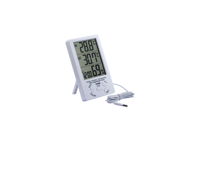 Indoor Outdoor Thermometer Hygrometer Clock Alarm Digital LCD Min Max Value Display C/F Temperature Humidity Meter 1.5M Sensor