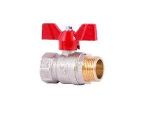 "3/4"" Inch Ball valve with connection nuts, short handle Italy"