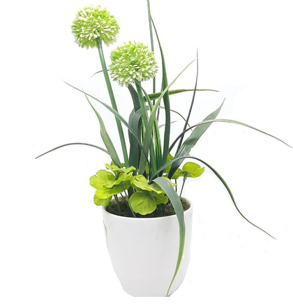 plastic bowl with artificial plants