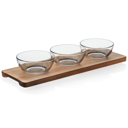 SET OF 3 GLASS DIP BOWLS WITH WOOD TRAY