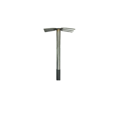 380mm x 220mm Prongs Weeding Hoe - long Steel  handle
