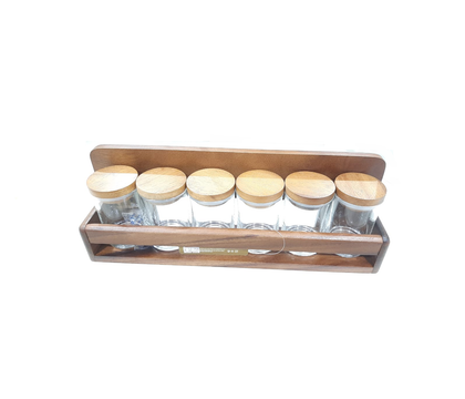 SPICE RACK 6BOTTLES WITH WOOD LID
