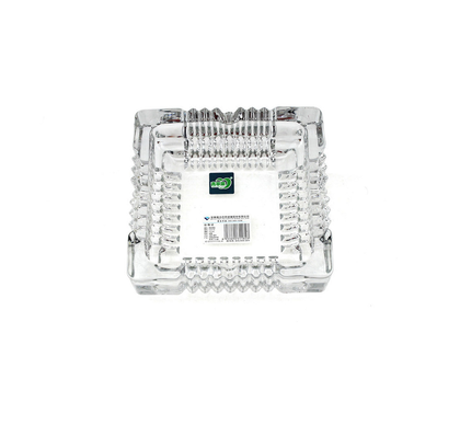 Deli Green Apple  Crystal Heavy Glass Ashtray for Indoor and Outdoor Decorative (Square)