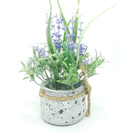 circular pottery pot with flowers
