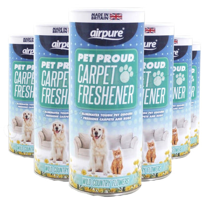 Airpure Pet Proud Carpet Freshener (6 x 350g) Wild Country Flowers Pet Odour
