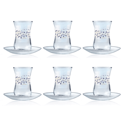 12-Pieces Estakan Lovinette Tea Mug Set Clear 120 ml