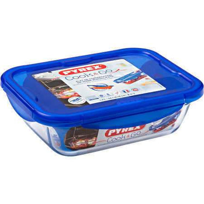 Cook & Go Glass Rectangular Food Container With Lid. 1.7 L