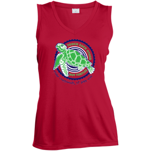 Touch Each Other Not Turtles Ladies' Sleeveless Moisture Absorbing V-Neck