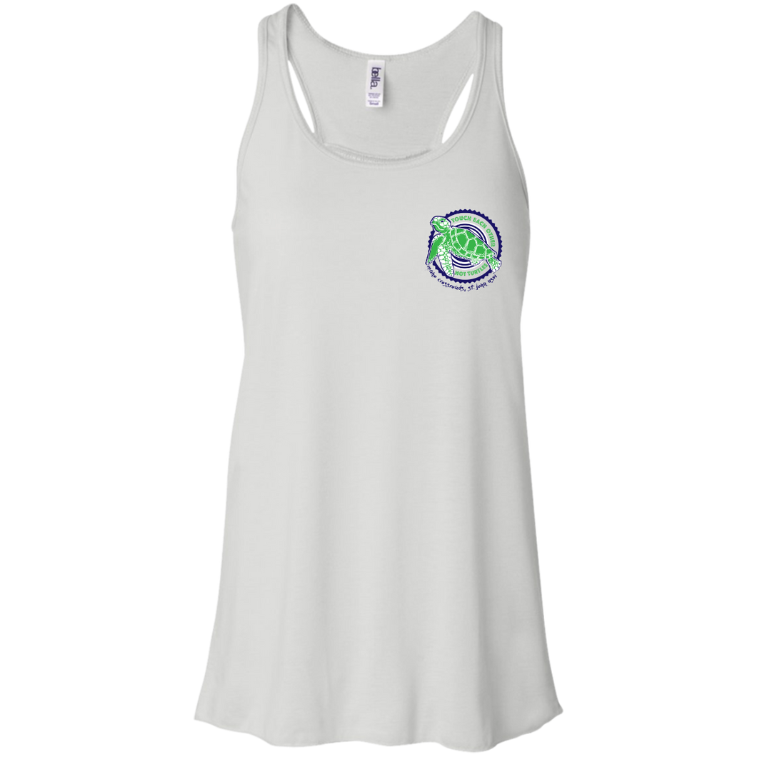 Touch Each Other, Not Turtles Bella + Canvas Flowy Racerback Tank