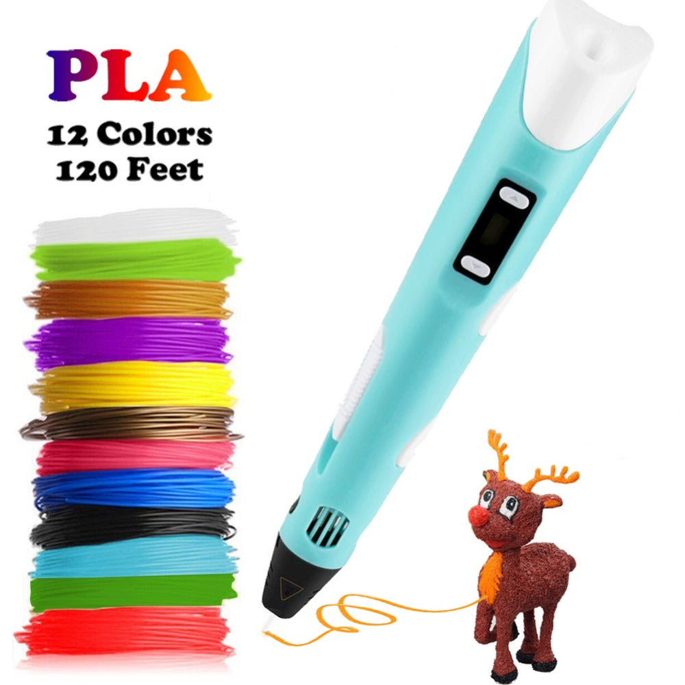 3D Printing Pen With Free 12 Color Filaments and Modelling Book - The Travel Shopp