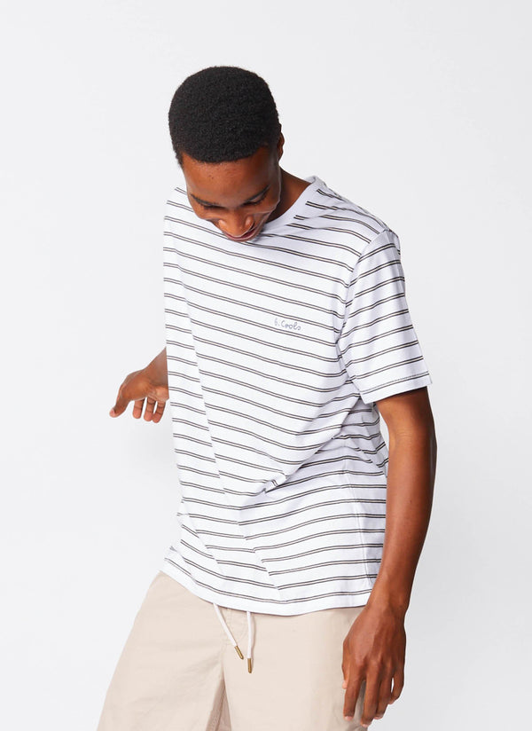 B.Cools Embroidered Tee White Stripe