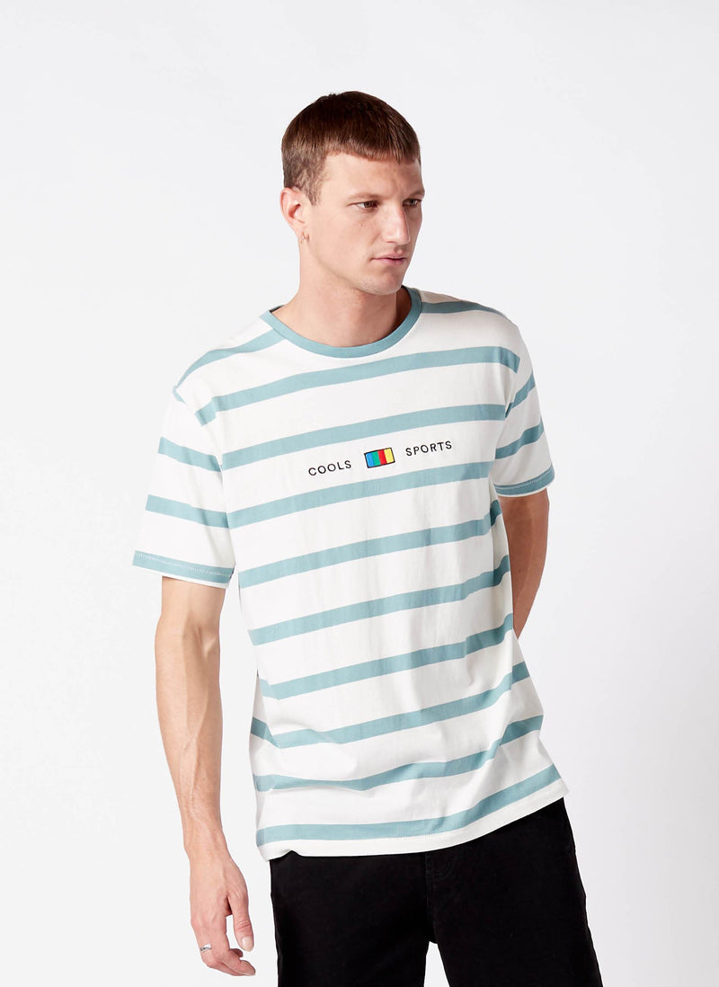 Cools Sports Tee Aqua Stripe