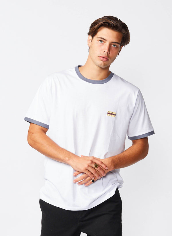 Flag Ringer Tee White